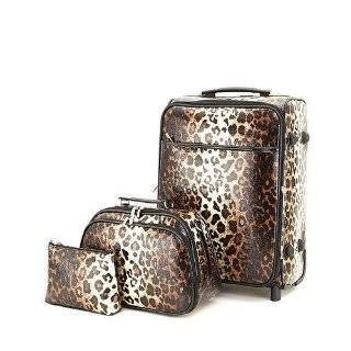 Leopard Animal Print 3pc Luggage Suitcase Train Case, Carry On