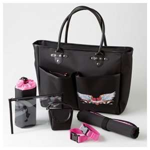 Rock N Moms Chic Jetts Bebe Mi Amour Black and Hot Pink Designer Tote