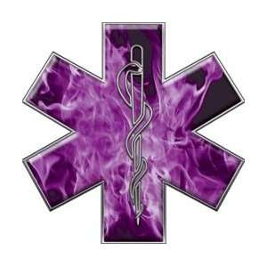 Star of Life EMT EMS Inferno Purple 4 Reflective Decal