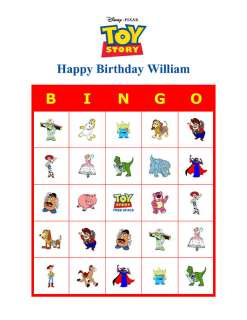 Toy Story Cartoon Birthday Party Game Bingo Cards