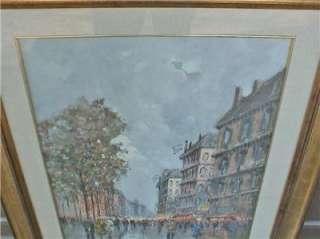 Gino De Simone, Large Street Scene Oil Painting
