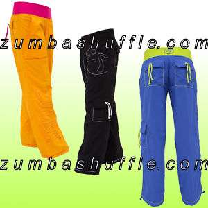 ZUMBA LOGO Cargo PANTS   ORANGE BLACK BLUE   NEW
