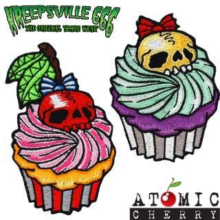 Cupcake Skull Patch Tattoo Rockabilly Punk Retro Zombie Retro