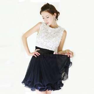 Girls Crewneck Floral Stitch Chiffon Pleated Slim Waist Mini dress