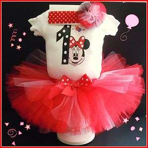 1st year Girls Minnie Mouse Tutu Hairbow T shirt Birthday Party