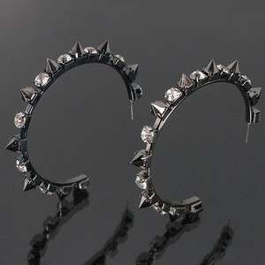 HOT NOW Spiky Rhinestone Hoop Earrings ZER83132 E1869 in 4 Colors