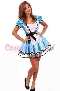 Girls Alice in Wonderland Costume Fancy Dress Halloween Hens Party