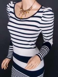 New Knit Stripes Princess Long Sleeves Tunic Blouse Top