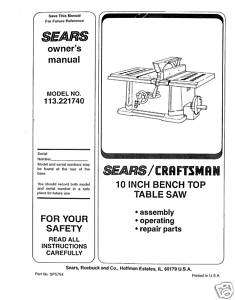 Craftsman Table Saw Manual Model # 113.221740