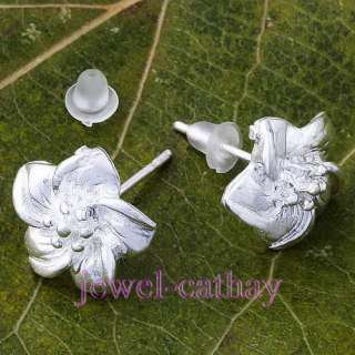 New Free Ship Fashion Silver Plated Flower Earring Stud