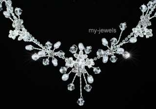 Bridal Wedding Crystal Faux Pearl Necklace Set S1178