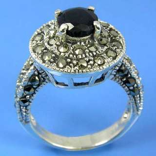 Natural Marcasite and Natural Blue Sapphire Ring (YSR 224)