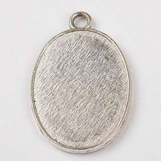 Oval Shape Gemstone Resin Photo Frame Charm Pendant Finding