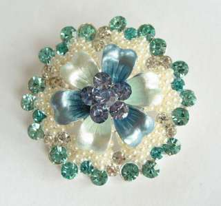 COLORS SWAROVSKI CRYSTAL PEARL SILVER FLORAL PIN BROOCH 1539