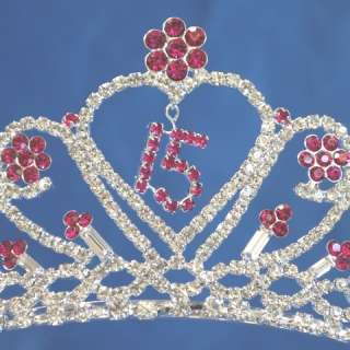 Quinceanera 15 Birthday Tiara Crystal Princess Party Prom 5204F7