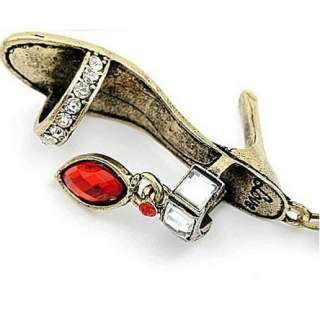 Necklace Vintage High heel Shoes Bronze Charm Red Rhinestone Pendant