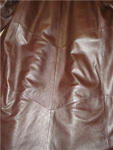 Chocolate Brown Genuine Leather and Dyed Fox Fur Coat Size Medium