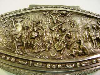 Antique Ornate Figural Silver Plate Jewelry Box   Romantic Scene w
