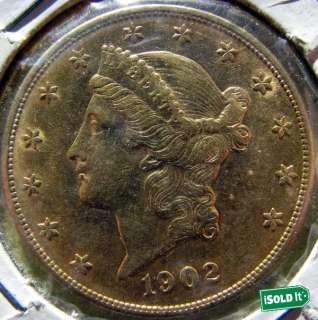1902 $20 LIBERTY HEAD GOLD DOUBLE EAGLE COIN HIGH GRADE