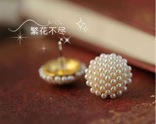 Pair Popular White Beads Pearl Mushroom Gold Plated Earring Ear Stud