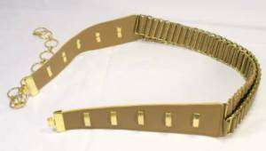 Vintage Retro 1980s Double Ammo Style Disco Chain Belt Tan Beige