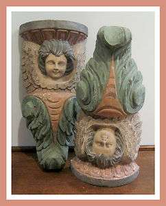 Pair Vintage Wood Carved Folk Art Primitive Cherub Angel Figure Corbel
