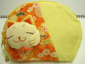 Very Cute Lucky Cat Face Large Cosmetic Bag Pouch