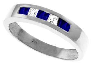 Sapphire White Topaz Gemstones Channel Set Band Ring 14K White Gold