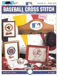 Cross Stitch Major League Orioles Tigers Yankees White Red Sox Indians