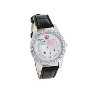 Hello Kitty Dial Analog Watch with Crystal Bezel (Black