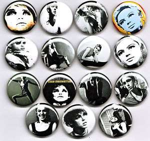 EDIE SEDGWICK Badges x15   Girl On Fire Factory Model andy warhol art