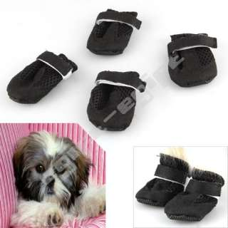 4X Small S Black Air Hole Pet Dog Puppy Boots Booties Shoes Apparel