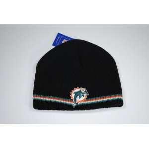 Miami Dolphins Reebok Black Team Color Striped Beanie Winter