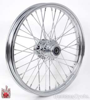 21 CHROME FRONT WHEEL 40 SPOKES RIM BILLET HUB FITS HARLEY SOFTAIL