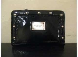 NEW Michael Kors Black Patent Big Valley Bifold Wallet