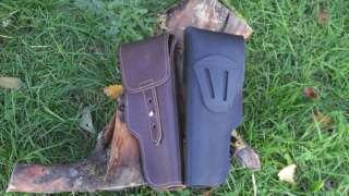 LEATHER GUN HOLSTER BLACK FOR CZ 75 75B 83 85 85B 97