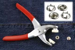 Easy Press Button Snap Fastener Pliers with 108 Snap Pieces   3/16