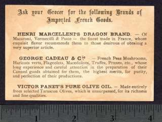 Magic Act Clown Coin to Pocket trick 1870s Grocery Food Victorian Ad