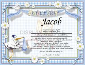 Baptism Christening Gift Personalized Name Meaning Baby Boy Stork