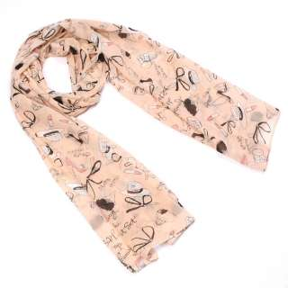 New Women Fashion Pink Graffiti Long Soft Wrap Shawl Scarf SH3501