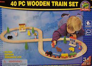 NEW 40 PC MAXIM WOODEN TOY TRAIN SET FITS OTHER BRANDS