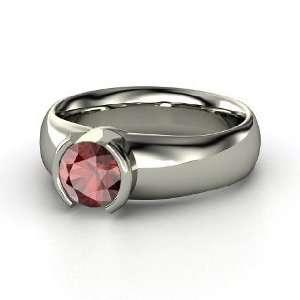 Adira Ring, Round Red Garnet Sterling Silver Ring Jewelry