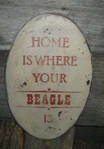 VINTAGE WOOD SIGN   HOME IS WHERE YOUR BEAGLE IS/ARE