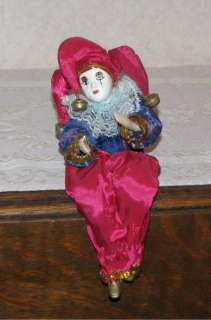 Harlequin Jester Mardi Gras Porcelain Doll |