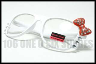 Kitty Eyeglass White Frame Womens Nerd Clear Lens Red Ribbon