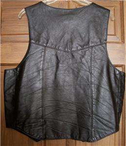 Brand Mens Black Genuine Leather Western Motorcycle Vest L