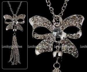 J91 Beautiful Bow GirlLady Long Chain Necklack Pendant