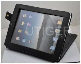Leather Case Cover + screen protector For Apple iPad 2