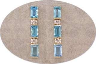 JDL BLUE TOPAZ & DIAMOND GOLD POST EARRINGS