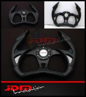 350mm Universal PVC Black Open Top Jet Style JDM Racing Steering Wheel